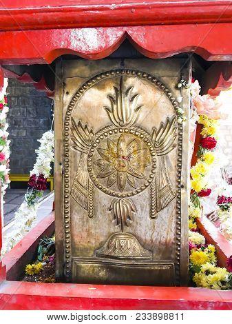 Sudarshan Chakra Embedded At Entrance Pillar Of Godhanda Rama Temple At Badyaranyapura, Bangalore, K