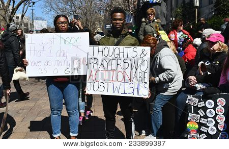 Washington, Dc, Usa - March 24, 2018: People Demonstrate In The March For Our Lives, A Student-led R