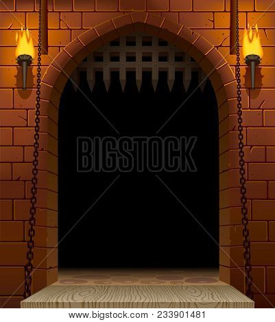 Medieval castle gate with a drawbridge and torches with a black aperture. Architectural vintage frame. Cover and poster fantasy design