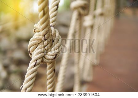 Close-up Of Rope Knot Line Tied Together With Bridge Background. White Rope Tied In A Knot For Adven