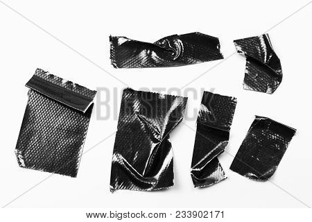 Set Of Black Tapes On White Background. Torn Horizontal And Different Size Black Sticky Tape, Adhesi