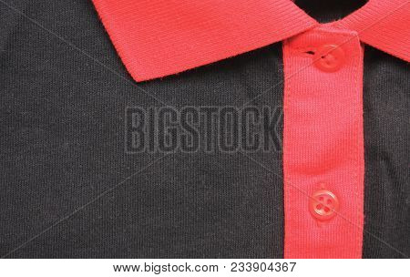 Polo T-shirt With Buttons And Collar Neck Close Up View. Clothing Design Of Simple Black And Red Col