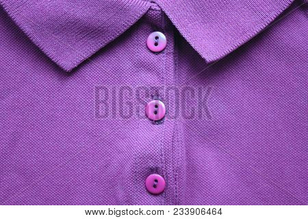 Purple Violet Polo T-shirt With Buttoned Collar Neck. Casual Style Clothes, Vivid Bright Shirt Made