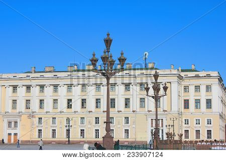 Palace Square Architecture And Antique Historical Building Street Lanterns In St. Petersburg, Russia
