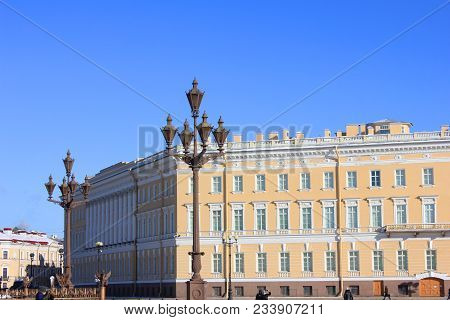 Palace Square Architecture With Old Historical Building Facade And Street Lantern In St. Petersburg,