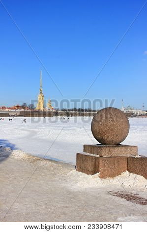 Saint-petersburg City Winter Nature Landscape Wallpaper View From Neva River Snowy Waterfront And Pe