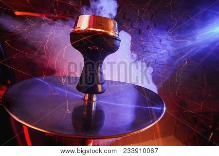 Shisha Hookah With Red Hot Coals. Sparks From Breathe. Modern Hookah With Coconut Charcoal And Shish