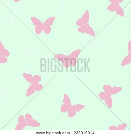 Summer Seamless Pattern With Pink And White Silhouettes Of Butterflies. Vector.