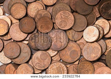A Pile Of Used Copper Euro Cent Coins With Visible Marks Of Oxidation