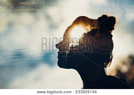 Mind Strength Concept, Silhouette Of Woman Head