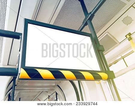 Train Indoor Infomercial Screen Mock-up Clipping Path