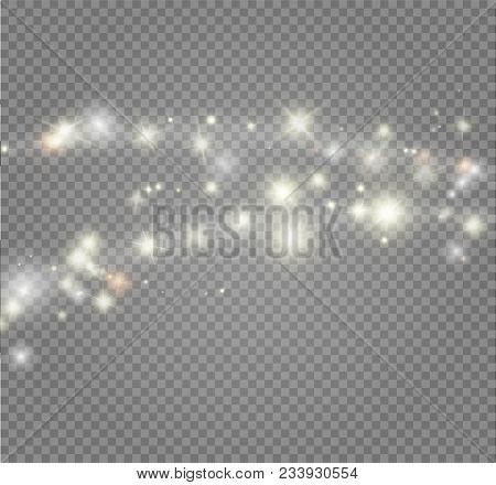 Stardust white glitter.Sparkle glowing stardust. Magic sparkling particles light effect. Vector illustration on with transparent background. poster