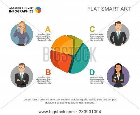 3d Pie Chart. Four Segment Infographics, Editable Template. Creative Concept For Presentation, Proje