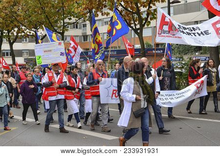 Le Mans, France - October 10, 2017: People Demonstrate During A Strike Against New Laws Of A Preside