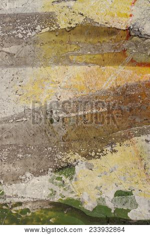 Brown, Yellow, Beige, Green Paint On Grunge Wall. Multicolored, Abstract, Textures, Background. Clos