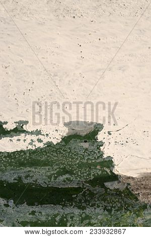 Green, White Paint On Grunge Wall. Abstract, Textures, Background. Close Up Of Rough, Weathered Surf