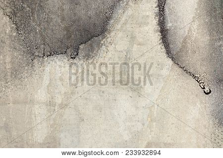 Black  Dripping Paint On Grunge Wall. Abstract, Textures, Background. Close Up Of Cracked, Weathered