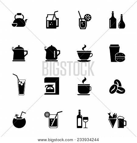 Drinks Icon Set. Can Be Used For Topics Like Beverage, Hot Drinks, Cocktails, Coffee