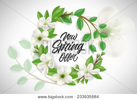New Spring Offer Lettering In Flower Wreath. Promotion Design Element. Handwritten Text, Calligraphy