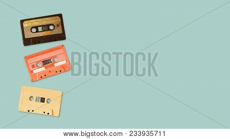 Tape Cassette Recorder On Color Background. Retro Technology. Flat Lay, Top View Hero Header. Vintag