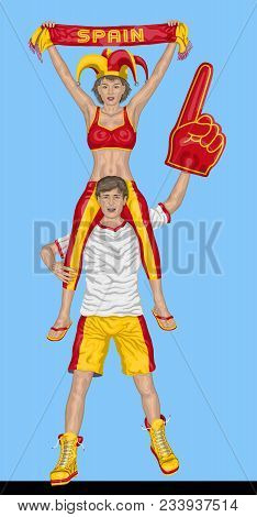 Spanish Fans Supporting Spain Team With Scarf And Foam Finger. All The Objects Are In Different Laye