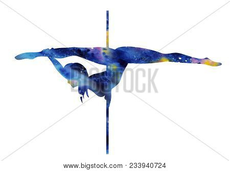 Colorfull Silhouette Of Girl And Pole On A White Background. Pole Dance Illustration For Striptease