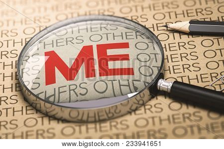 3d Illustration Of A Magnifying Glass Over A Paper Bakground With Focus On The Word Me. Concept Of E