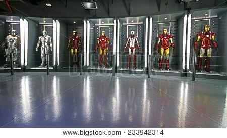 Las Vegas, Nv, Usa - Oct 09, 2017: Iron Man Costumes At The Tony Stark Base At The Avengers Experien