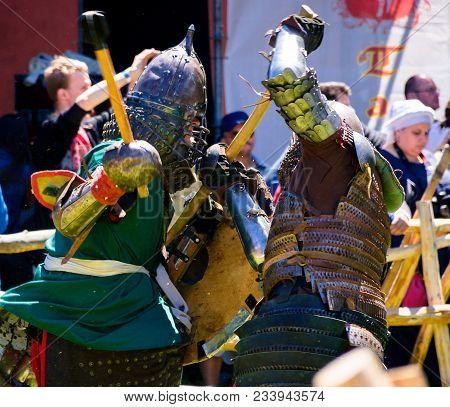 Chynadiyovo, Ukraine - May 27, 2017: Medieval Culture Festival Silver Tatosh. Location St. Miklos Ca