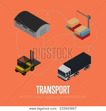 Commercial Cargo Transport Isometric Illustration. Forklift Truck, Freight Car, Warehouse Terminal,
