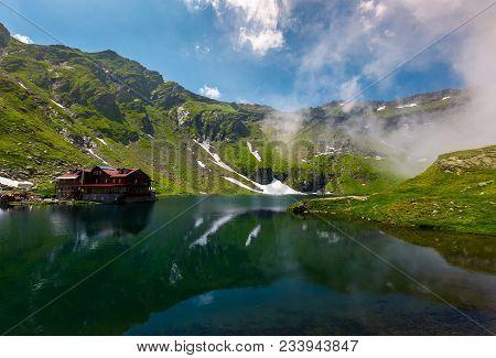 Beautiful Landscape Of Balea Lake. Popular Destination For Tourists In Fagaras Mountains, Romania