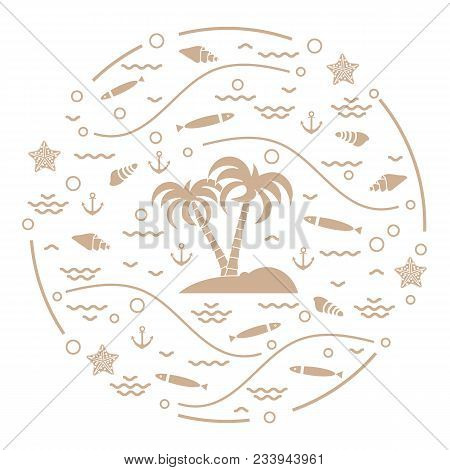 Cute Vector Illustration With Fish, Island With Palm Trees, Anchor, Waves, Seashells, Starfish,  Arr