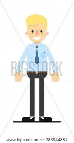 Smiling Blond Office Clerk Character Isolated On White Background Illustration. People Personage In