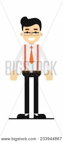Positive And Young Office Clerk Isolated On White Background Illustration. People Personage In Flat