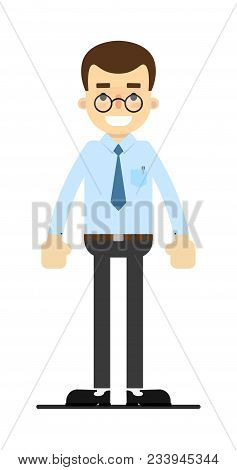 Smiling Office Clerk Character Isolated On White Background Illustration. People Personage In Flat D