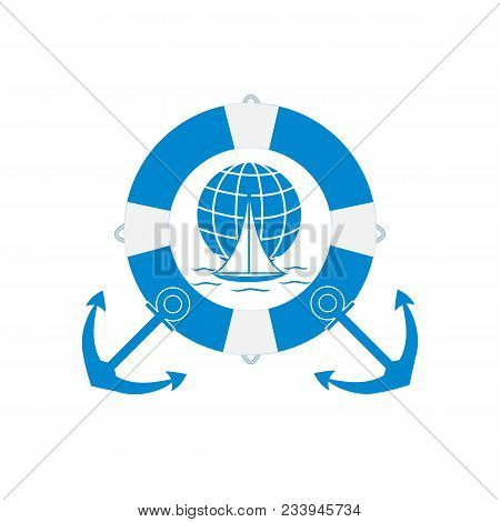 Stylized Icon Of A Colored Yacht, Sailing Over The Waves On A Globe In Lifebuoy With Two Anchors On