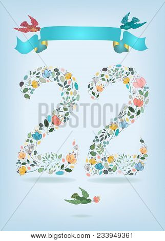 Floral Number Twenty Two With Blue Ribbon And Colorful Birds. Watercolor Graceful Flowers, Plants An