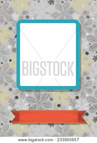 Graceful Greeting Card. Geometric Floral Pattern. Blue Frame For Custom Photo. Red Banner For Custom