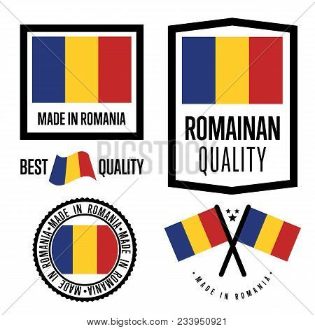 Romania Quality Isolated Label Set For Goods. Exporting Stamp With Romanian Flag, Nation Manufacture