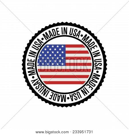 Made In Usa Round Rubber Stamp For Products Illustration Isolated On White Background. Exporting Sta