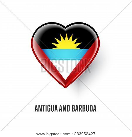 Patriotic Heart Symbol With Antigua And Barbuda Flag Illustration Isolated On White Background. Love