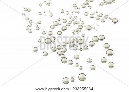 Many Small Water Bubbles Isolated Over A White Background.