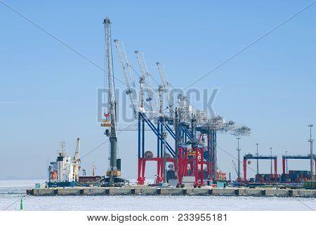 Saint Petersburg, Russia - March 05, 2018: Multifunctional Sea Port