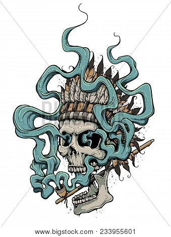 Graffiti Style Dead Head In Indian Feather Headdress Smoking A Peace Pipe. Smoke Streaming Up And Ma