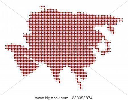 Asia Map Halftone Vector Pictogram. Illustration Style Is Dotted Iconic Asia Map Symbol On A White B