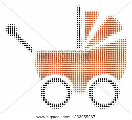 Baby Carriage Halftone Vector Pictograph. Illustration Style Is Dotted Iconic Baby Carriage Symbol O