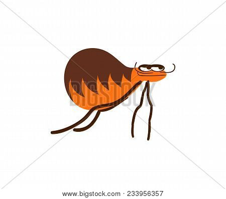 Funny Flea Illustration Isolated On White Background. Cute Insect, Comic Bug, Smiling Wildlife Chara