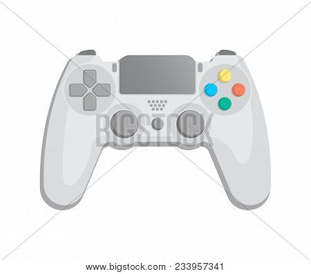 Control console for video game icon in cartoon style. Game gadget, cybersport digital device, wireless gamepad or joypad isolatedillustration. poster