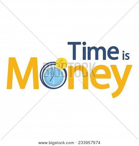 Time Is Money Business Economy Concept, Clock And Gold Coin