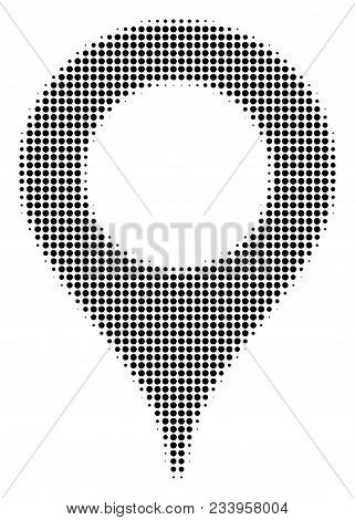 Map Marker Halftone Vector Pictogram. Illustration Style Is Dotted Iconic Map Marker Symbol On A Whi